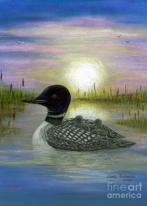 Loon Greeting Card featuring the painting Loon Babies on Mother's Back Judy Filarecki by Judy Filarecki