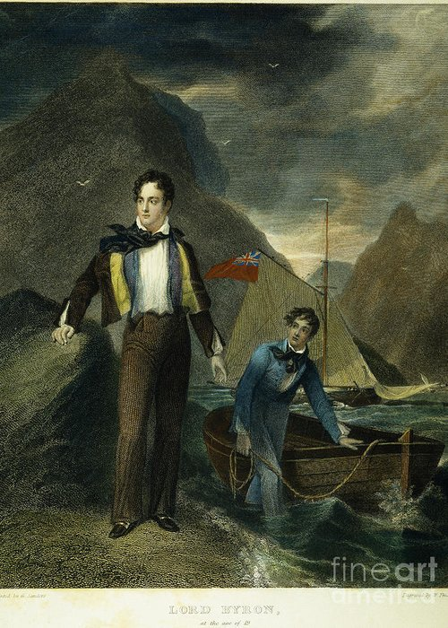 1807 Greeting Card featuring the photograph Lord Byron by Granger