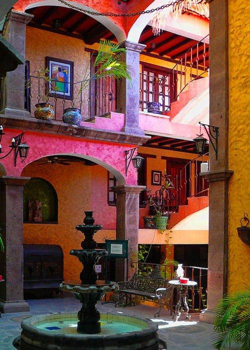 Baja California Greeting Card featuring the photograph Loreto Hotel Lobby by Scott Massey