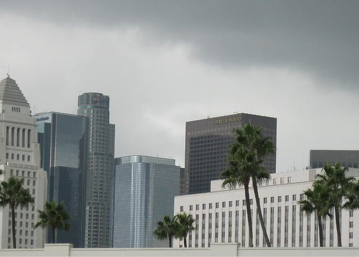 Skyscraper Of La In A Cloudy Day Greeting Card featuring the photograph Los Angeles by Joseph Wolf
