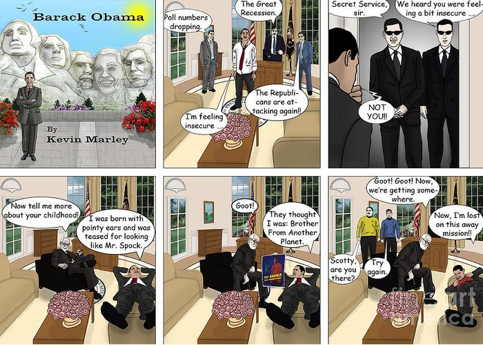 Barack Obama Greeting Card featuring the digital art Lost On An Away Mission by Kevin Marley