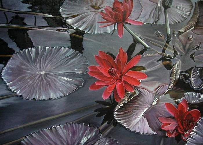 Landscape Greeting Card featuring the painting Lotus by Oleg Dashevsky