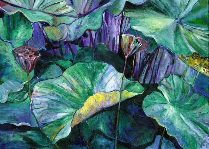 Lotus Greeting Card featuring the painting Lotus Pond by Carol Mangano