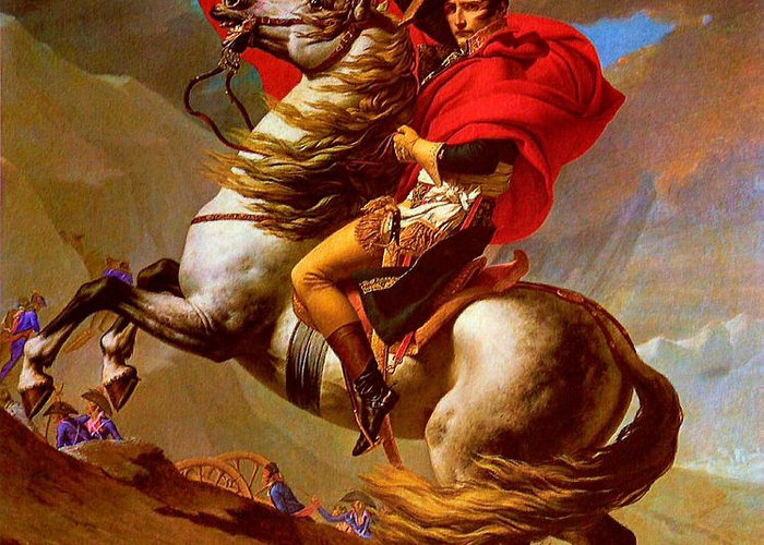 Patrocles Paintings Greeting Card featuring the painting Louis Napoleon At The St Bernard Pass by Pg Reproductions