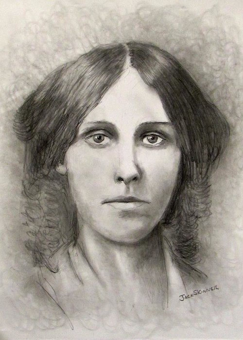 Louisa May Alcott Greeting Card featuring the drawing Louisa May Alcott by Jack Skinner