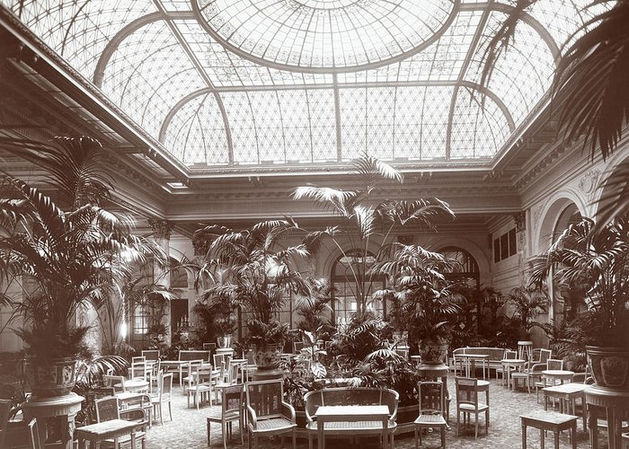 Lounge At The Plaza Hotel Greeting Card featuring the photograph Lounge At The Plaza Hotel by Henry Janeway Hardenbergh