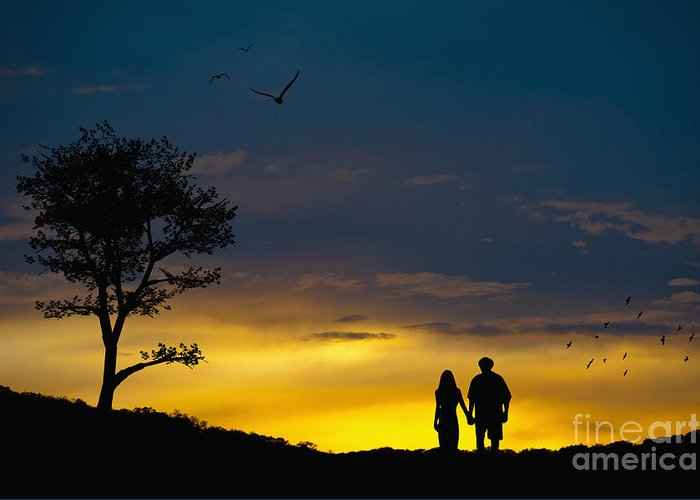 love couple silhouette at sunset greeting card for sale by andre babiak