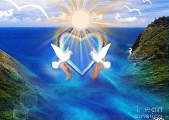 Landscape Greeting Card featuring the digital art Love Doves by Belinda Threeths