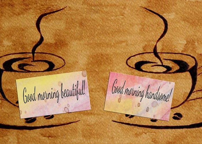 Morning Coffee Greeting Card featuring the painting Love Morning Coffee by Georgeta Blanaru