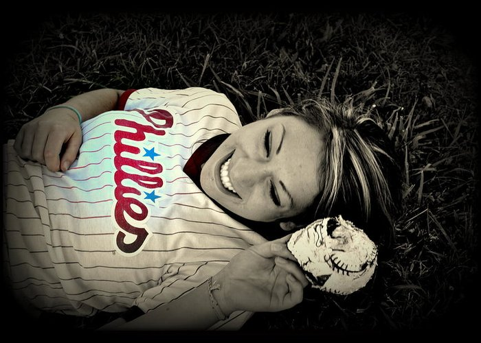 Phillies Greeting Card featuring the photograph Love Of The Game by Ashley Branstetter