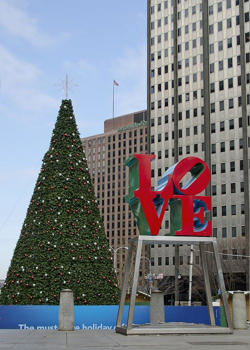 love Park Greeting Card featuring the photograph Love Park Philadelphia - Winter by Brendan Reals