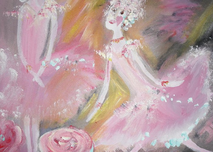 Ballet Greeting Card featuring the painting Love Rose Ballet by Judith Desrosiers