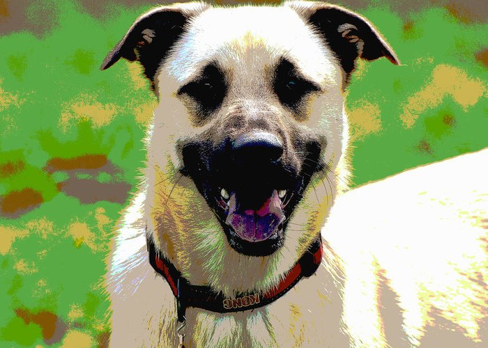 Dog Greeting Card featuring the digital art Loves To Smile by Dorrie Pelzer
