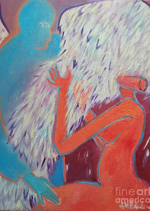 Angels Greeting Card featuring the painting Loving My Angel by Ana Maria Edulescu