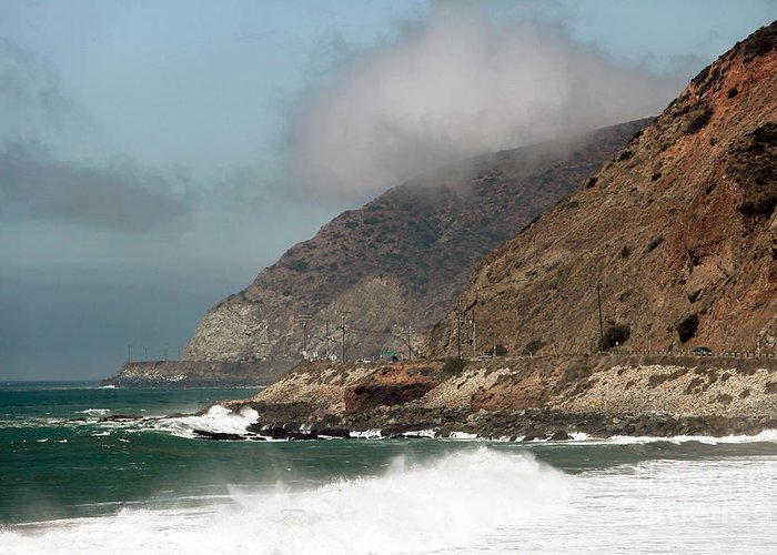 Low Clouds On The Pch Greeting Card featuring the photograph Low Clouds On The Pacific Coast Highway by John Rizzuto