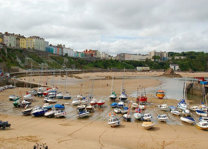 Low Tide Greeting Card featuring the photograph Low Tide At Tenby by Tam Ryan