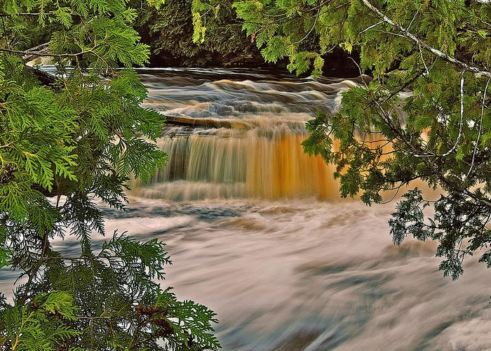 Lower Tahquamenon Falls Greeting Card featuring the photograph Lower Tahquamenon 6187 by Michael Peychich
