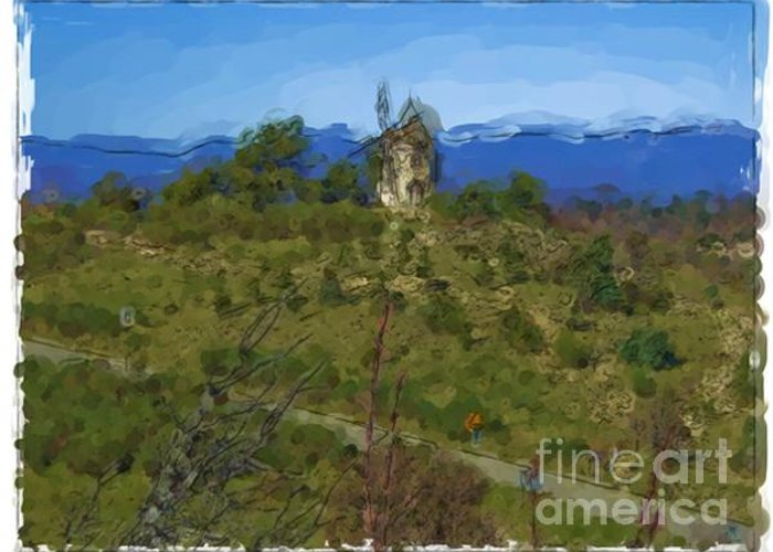 Landscapes Greeting Card featuring the painting Luberon - France by Franck Guarinos