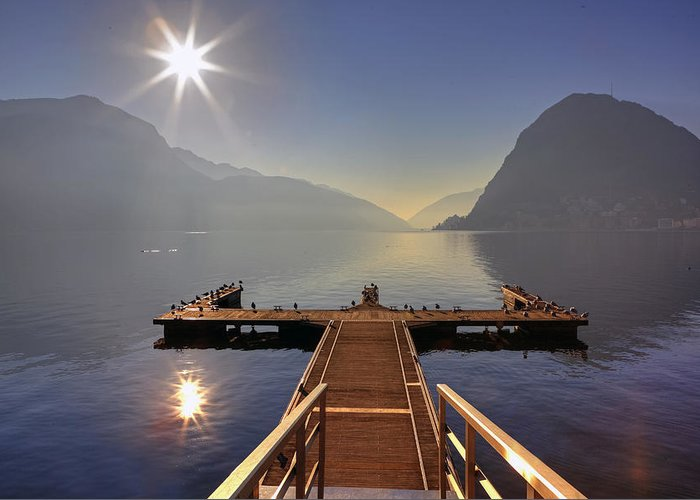 Dock Greeting Card featuring the photograph Lugano by Joana Kruse