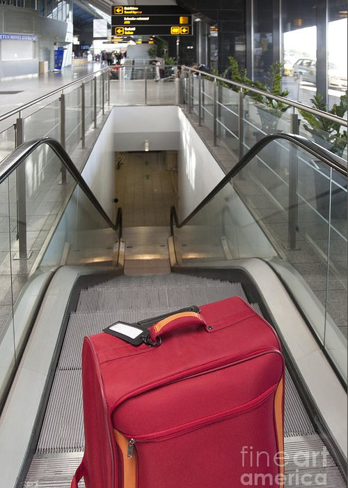 Abandoned Greeting Card featuring the photograph Luggage At The Top Of An Escalator by Jaak Nilson