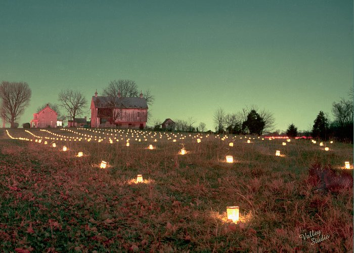 Antietam Battlefield Greeting Card featuring the photograph Luminaries In The Pasture 11 by Judi Quelland