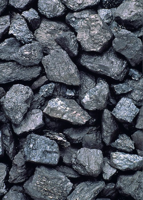 Anthracite Greeting Card featuring the photograph Lumps Of High-grade Anthracite Coal by Kaj R. Svensson
