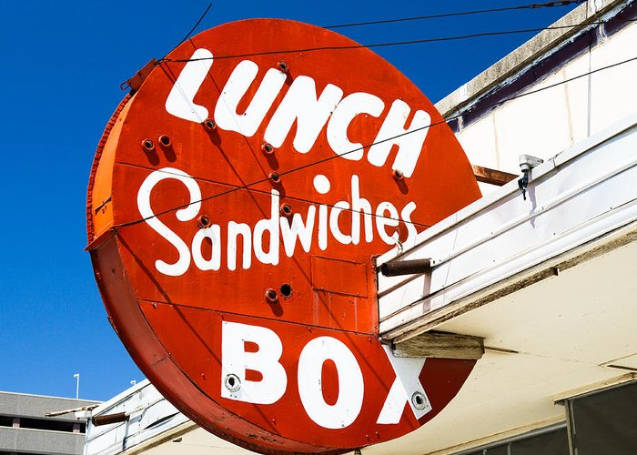Neon Sign Greeting Card featuring the photograph Lunch Box by David Waldo