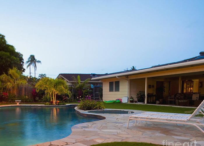 Beach Chair Greeting Card featuring the photograph Luxury Backyard Pool And Lanai by Inti St. Clair