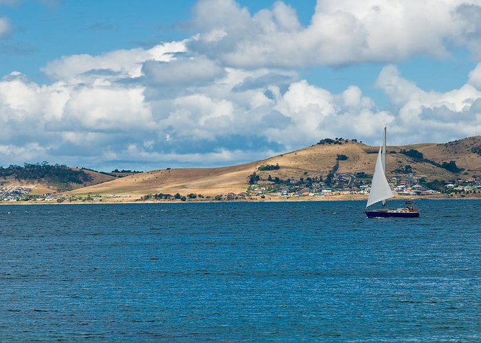 Beige Greeting Card featuring the photograph Luxury Yacht Sails In Blue Waters Along A Summer Coast Line by Ulrich Schade