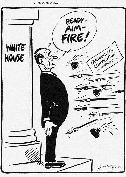 1960s Greeting Card featuring the photograph Lyndon B. Johnson: Cartoon by Granger