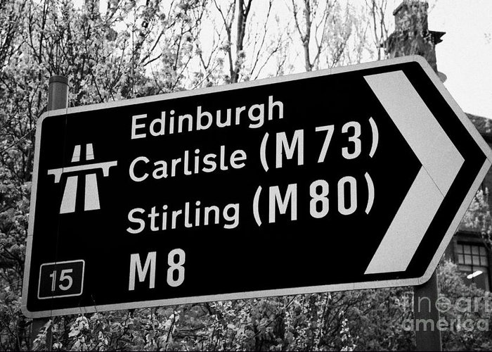 Motorway Greeting Card featuring the photograph M8 Motorway Sign In Glasgow Scotland Uk by Joe Fox