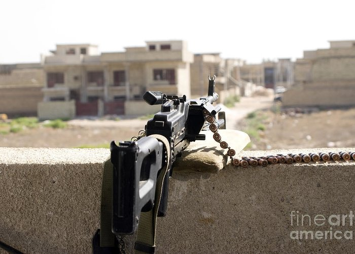 7.62mm Greeting Card featuring the photograph Machine Gun Post At A Prison by Terry Moore