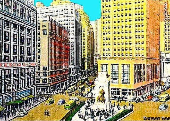 Macys department on herald square new york city around 1940 department stores greeting card featuring the painting macys department on herald square new york m4hsunfo
