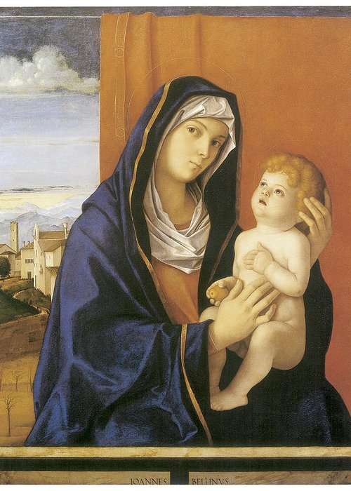 Giovanni Bellini Greeting Card featuring the painting Madonna And Child by Giovanni Bellini