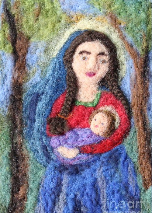 Madonna Greeting Card featuring the tapestry - textile Madonna And Child by Nicole Besack