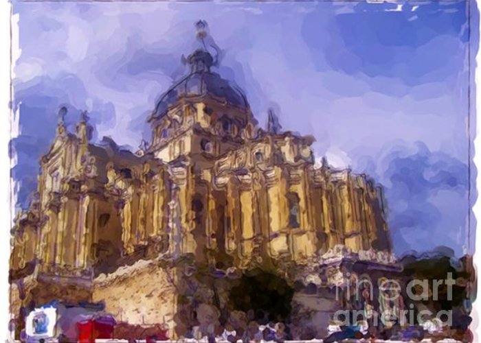 Landscapes Greeting Card featuring the painting Madrid - Spain by Franck Guarinos