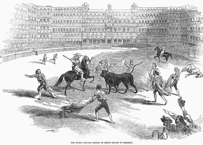 1846 Greeting Card featuring the photograph Madrid: Bullfight, 1846 by Granger