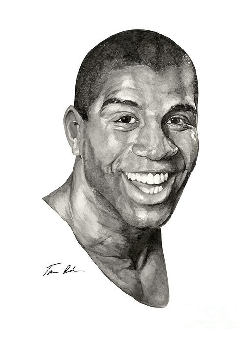 Magic Johnson Greeting Card featuring the painting Magic by Tamir Barkan
