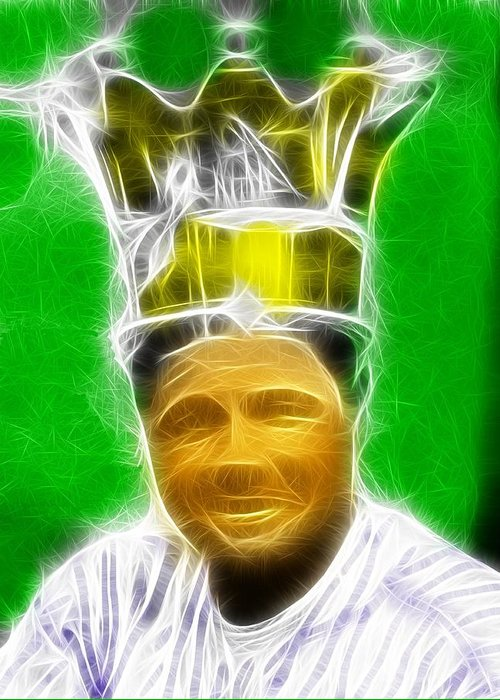 Babe Ruth Greeting Card featuring the painting Magical Babe Ruth by Paul Van Scott