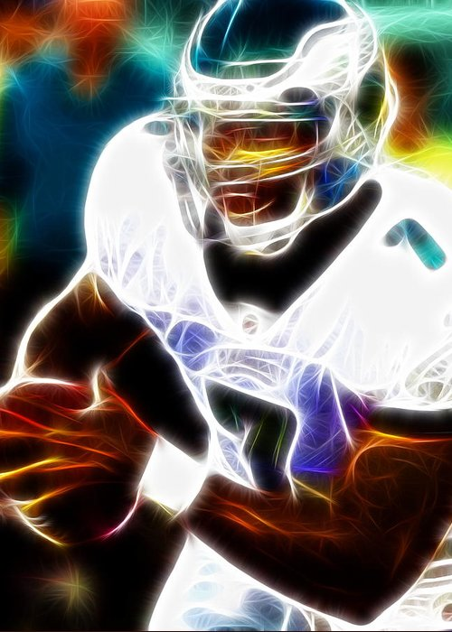 Mike Vick Greeting Card featuring the painting Magical Michael Vick by Paul Van Scott