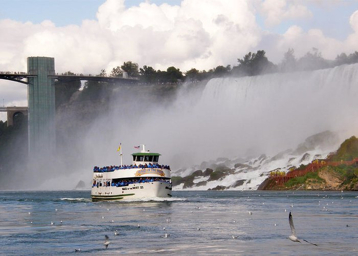 Niagara Falls Greeting Card featuring the photograph Maid Of The Mist At Niagara Falls by Mark J Seefeldt