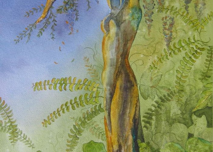 Fantasy Landscape With Figure Greeting Card featuring the painting Maiden - Earth Mother Iv  by Patsy Sharpe