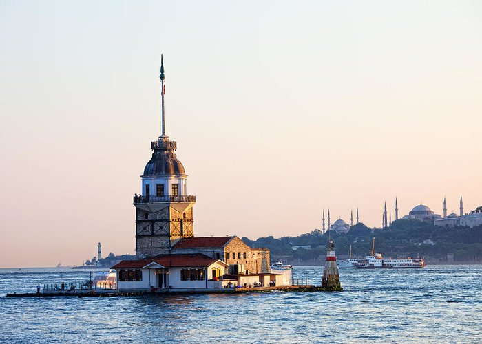Bosphorus Greeting Card featuring the photograph Maiden Tower In Istanbul by Artur Bogacki