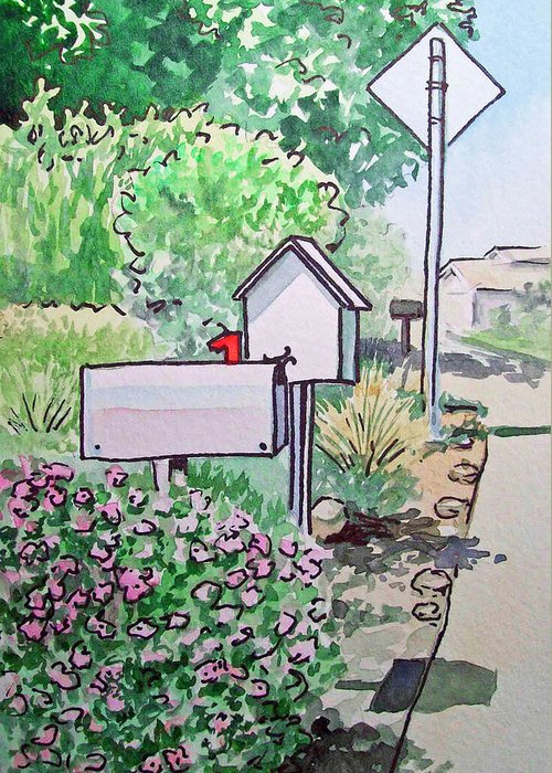 Mailbox Greeting Card featuring the painting Mail Boxes Sketchbook Project Down My Street by Irina Sztukowski