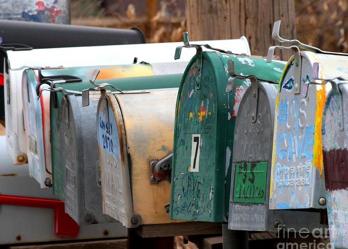 New Mexico Greeting Card featuring the photograph Mailboxes by Ashley M Conger