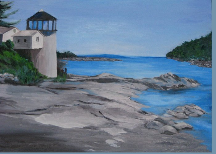 Lighthouse Greeting Card featuring the painting Maine Lighthouse by Sherlyn Andersen