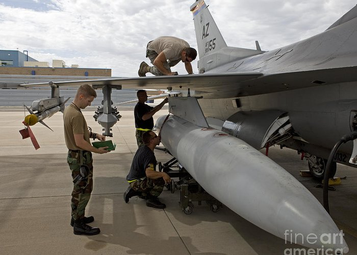 Airbase Greeting Card featuring the photograph Maintenance Crew Works On Replacing by HIGH-G Productions