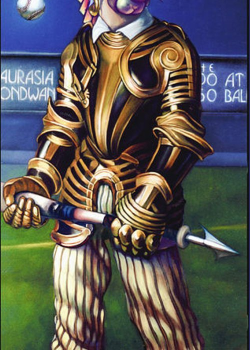 Baseball Greeting Card featuring the painting Major League Gladiator by Patrick Anthony Pierson