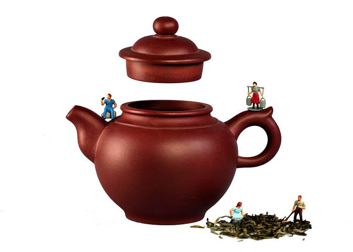 Green Greeting Card featuring the photograph Making Green Tea On A Clay Teapot by Paul Ge