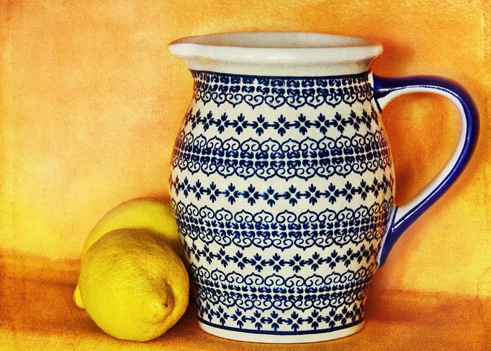 Pitcher Greeting Card featuring the photograph Making Lemonade by Tammy Wetzel